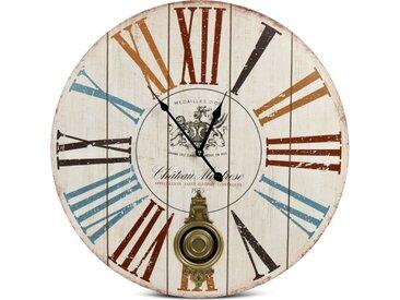 Horloge Ancienne Balancier Château Montrose Bois Blanc 58cm - Décoration d'Autrefois