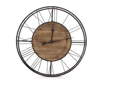Grande Horloge Ancienne Bois Métal Marron 70x7x70cm - Décoration d'Autrefois