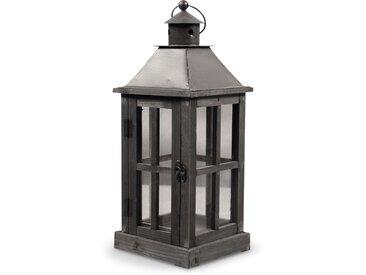 Lanterne Bois 19x19x47cm - Marron - Décoration d'Autrefois