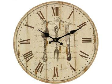 Horloge Ancienne Murale Bon Appétit 34cm - Bois - Blanc - Décoration d'Autrefois