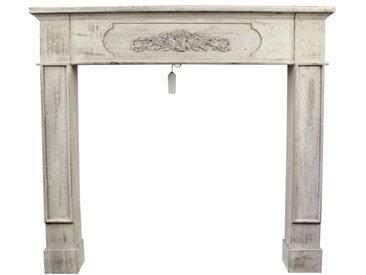 Décoration d'Autrefois - Encadrement Manteau Cheminée Cerusé Blanc 112.5x19x102cm - Bois