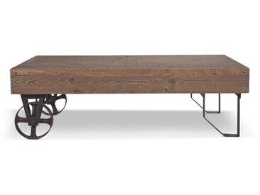 Meuble Bas Bois Roulettes 130x75x40cm - Marron - Décoration d'Autrefois