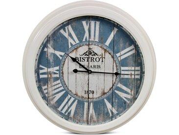 Horloge Ancienne Murale Bistrot de Paris Métal Bleu 58cm - Décoration d'Autrefois