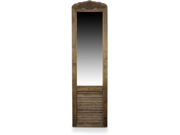 Miroir Ancien Rectangulaire Vertical Sur Pied Bois 48.5x5x170cm - Marron - Décoration d'Autrefois