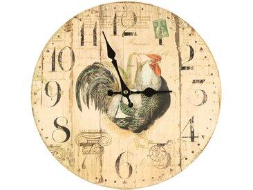 Horloge Ancienne Murale Coq 34cm - Bois - Blanc - Décoration d'Autrefois