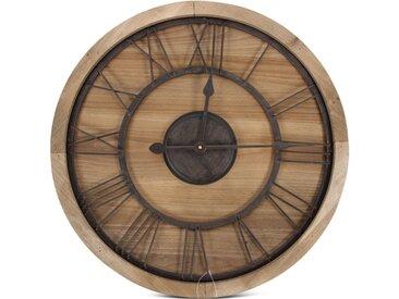 Grande Horloge Ancienne Bois Métal Marron 60x3x60cm - Décoration d'Autrefois