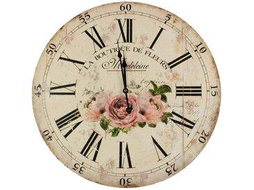 Horloge Ancienne Murale La Boutique De Fleurs 58cm - Bois - Blanc - Décoration d'Autrefois