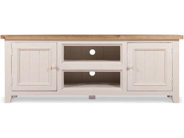Meuble TV Bas Rangement Bois Blanc Césuré 160x45x60cm - Décoration d'Autrefois