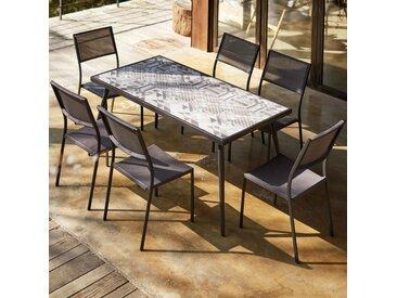 Mica - Salon de jardin céramique & pieds métal - 6 places