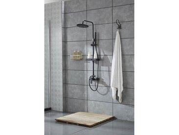 Cora - Colonne de douche noire mitigeur 'ronde'
