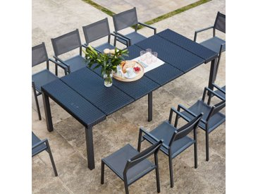 Console résine avec 10 chaises et leurs housses de protection
