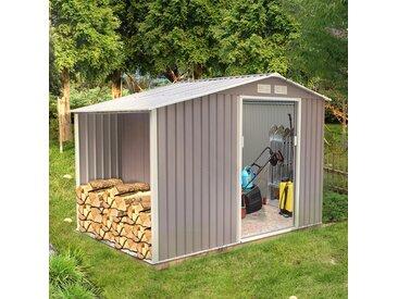Ventoux 5.31 m² : abri de jardin avec abri bûches en acier anti-corrosion gris