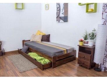 Lit futon bois de pin massif de couleur noyer A9, incl. sommier à lattes – Dimensions : 90 x 200 cm
