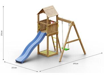 Tour de jeux pour enfants / aire de jeux avec balançoire simple, bac à sable, toboggan à vagues et toit en bois FSC