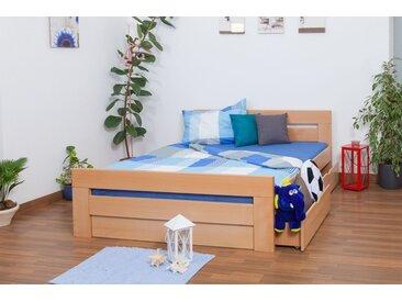 Lit d´adolescents Easy Premium Line K6 inkl. 2 tiroirs et un panneau de masquage, 160x200 cm bois dhêtre massif naturel