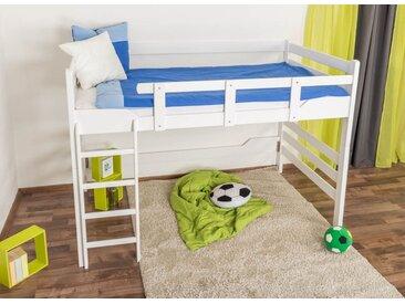 Lit mezzanine Easy Premium Line ® K15/n, bois de hêtre massif laqué blanc, convertible - Surface de couchage : 140 x 190 cm