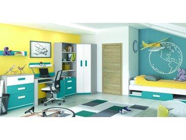 Chambre d´enfant complète - Set I Renton, 7 pièces, couleur : gris platine / blanc / bleu vert