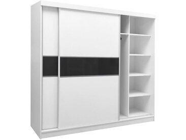 Armoire à portes coulissantes / armoire Bermeo 02, couleur : blanc / noir - 220 x 240 x 65 cm (H x L x P)