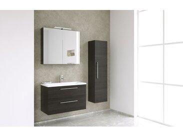 Meubles de salle de bains - Ensemble F Nadiad, 3 pièces avec lavabo, Couleur : Chêne Noir