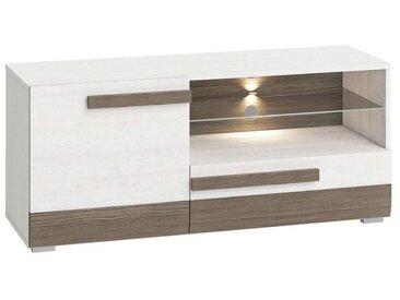 Meuble TV Knoxville 10, Couleur : Pin Blanc / Gris - Dimensions: 55 x 127 x 42 cm (H x l x p), avec 1 porte, 1 tiroir et 4 compartiments