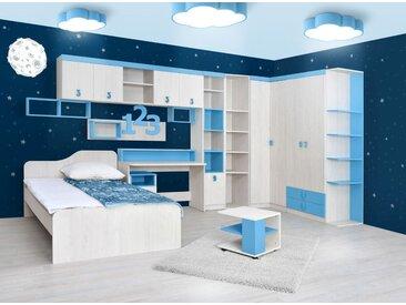 Chambre d'enfant complète - Set A Luis, 13 pièces, couleur : chêne blanc / bleu