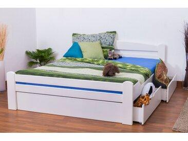 Lit d´adolescents Easy Premium Line K4 incl. 2 tiroirs et un panneau de masquage, 160x200 cm en hêtre massif laqué blanc