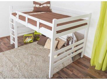 Lit mezzanine pour adultes Easy Premium Line ® K15/n, bois de hêtre massif laqué blanc, convertible - Surface de couchage : 140 x 200 cm