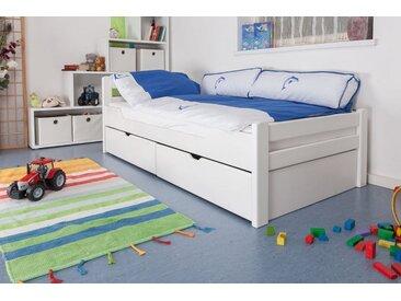 Lit enfant / lit de jeunesse Easy Premium Line K1/2n avec 2 tiroirs et 2 panneaux de couverture inclus, 90 x 200 cm en bois de hêtre massif laqué blanc