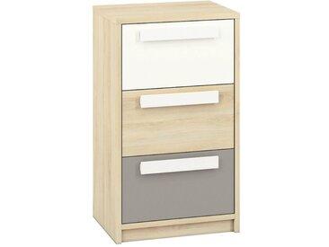 Chambre d´adolescent - Commode Greeley 11, Couleur: Hêtre / Blanc / Gris Platine - Dimensions: 93 x 54 x 40 cm (H x l x p), avec 3 tiroirs