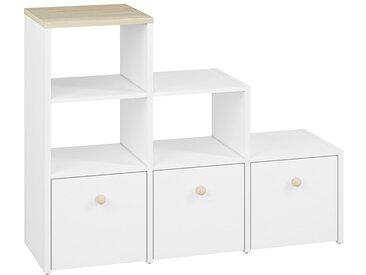 Chambre d´enfant - Etagère Egvad 12, couleur : blanc / hêtre - Dimensions : 95 x 122 x 40 cm (H x L x P), avec 3 tiroirs et 3 compartiments