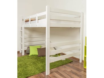 Lit mezzanine pour adultes Easy Premium Line ® K15/n, bois de hêtre massif laqué blanc, convertible - Surface de couchage : 120 x 200 cm
