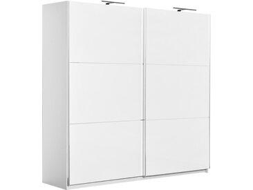 Armoire à portes coulissantes / armoire Sabadell 11, couleur : blanc / blanc brillant - 222 x 229 x 64 cm (H x L x P)