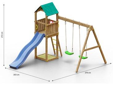 Tour de jeu / aire de jeu pour enfants avec double balançoire, toboggan à vagues et bac à sable FSC®.