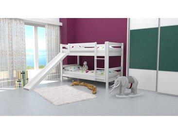 Lit superposé / lit de jeu David hêtre massif laqué blanc avec toboggan, séparable, avec sommier déroulable - 90x200 cm