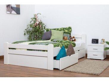 Lit simple Easy Premium Line K4 incl. 2 tiroirs et un panneau de masquage, 120x200 cm en hêtre massif laqué blanc