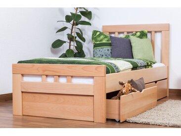 Lit simple Easy Premium Line K8 incl. 2 tiroirs et un panneau de masquage, 90 x 200 cm bois de hêtre massif naturel