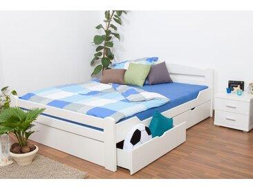 Lit double Easy Premium Line K4 incl. 2 tiroirs et un panneau de masquage, 180x200 cm en hêtre massif laqué blanc