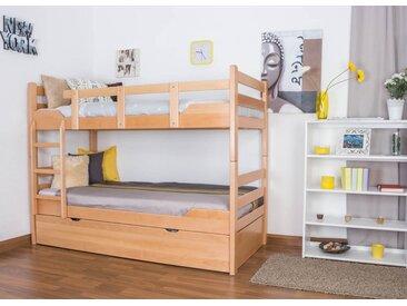 Lit superposé pour adultes Easy Premium Line K12/h avec canapé et 2 panneaux de recouvrement, tête et pied de lit droits, hêtre massif nature - Dimensions : 90 x 200 cm, divisible
