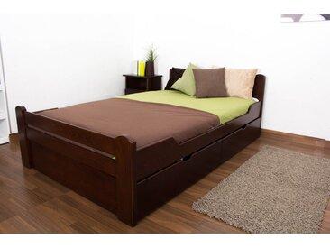 Lit simple Easy Premium Line K4 120x200 cm, avec 2 tiroirs et 1 panneau de masquage en hêtre massif brun foncé