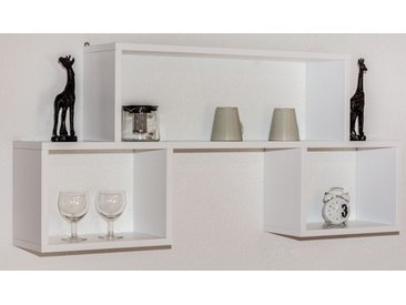 Étagère à suspendre / étagère murale en pin massif, blanc Junco 286 - Dimensions: 56 x 125 x 20 cm (h x l x p)