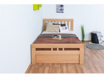 Single / guest bed  Easy Premium Line ®  K8 with 1 cover panel incl. 120 x 200 cm Beech solid wood natural