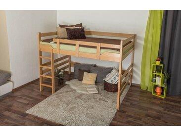 Lit mezzanine pour adultes Easy Premium Line ® K15/n, bois de hêtre massif naturel, convertible - Surface de couchage : 160 x 190 cm