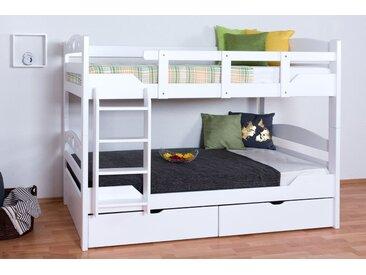 Lit Mezzanine / Lit superposé Easy Premium Line K10/n incl. 2 tiroirs et 2 panneaux de masquage, tête de lit avec des trous, hêtre blanc massif - Dimensions: 90 x 200 cm