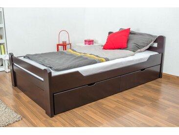 Lit d´adolescents Easy Premium Line K4 120x200 cm, incl. 2 tiroirs et 1 panneau de masquage en hêtre massif marron chocolat