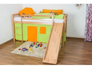 Lit pour enfants / lit superposé Georg avec toboggan hêtre naturel massif, avec sommier déroulable - 90x200 cm