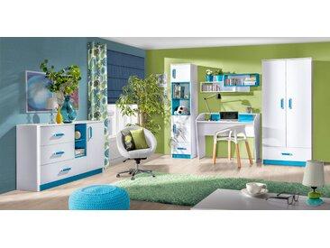 Set de chambre d'enfant D Frank, 5 pièces, couleur : blanc / bleu