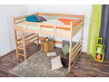 Lit mezzanine pour adultes Easy Premium Line ® K15/n, bois de hêtre massif naturel, convertible - Surface de couchage : 120 x 200 cm
