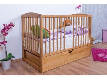 Lit bébé/lit en bois de pin massif couleur aulne 102, y compris sommier à lattes, tiroir incl., 60 x 120 cm (l x L)