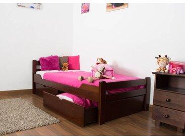 Lit enfant / lit de jeunesse Easy Premium Line K1/2n avec 2 tiroirs et 2 panneaux de couverture inclus, 90 x 200 cm en bois de hêtre massif brun foncé