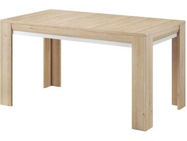 Table de salle à manger extensible Bizerte 05, Couleur : Hêtre / Blanc - 140 - 180 x 80 cm (l x L)